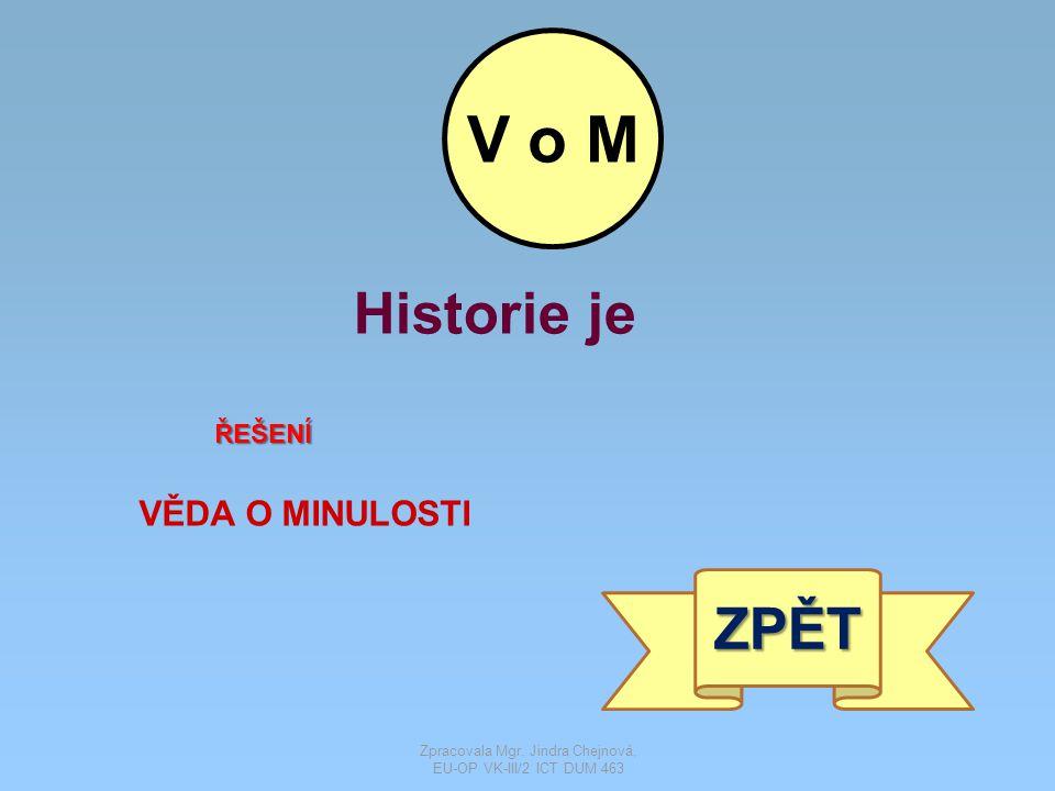 Historie je ŘEŠENÍ VĚDA O MINULOSTI ZPĚT V o M Zpracovala Mgr.
