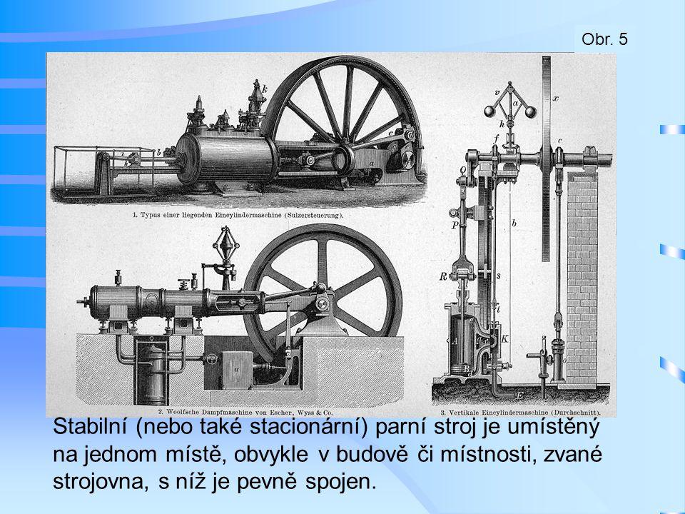 Stabilní (nebo také stacionární) parní stroj je umístěný na jednom místě, obvykle v budově či místnosti, zvané strojovna, s níž je pevně spojen. Obr.