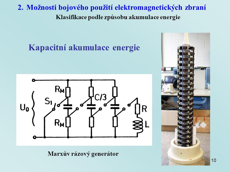 10 2.Možnosti bojového použití elektromagnetických zbraní Klasifikace podle způsobu akumulace energie Kapacitní akumulace energie Marxův rázový generá