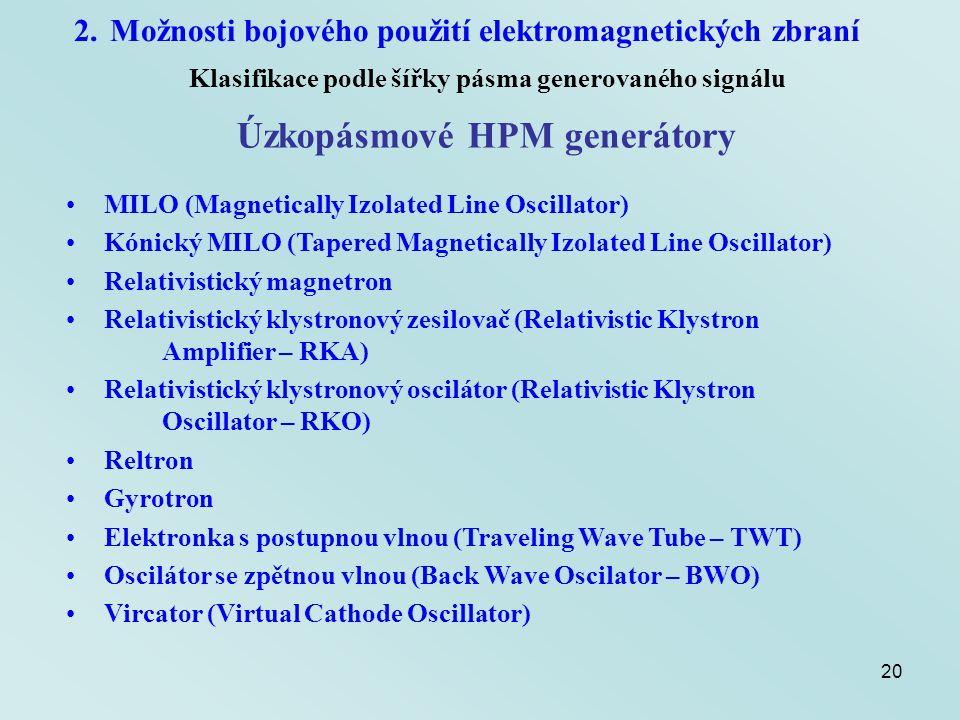 20 2.Možnosti bojového použití elektromagnetických zbraní Klasifikace podle šířky pásma generovaného signálu Úzkopásmové HPM generátory MILO (Magnetic