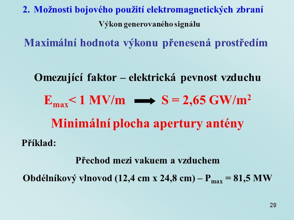 29 2.Možnosti bojového použití elektromagnetických zbraní Výkon generovaného signálu Maximální hodnota výkonu přenesená prostředím Omezující faktor –