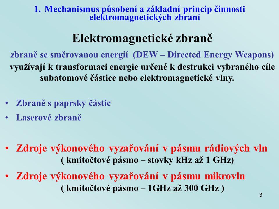 14 2.Možnosti bojového použití elektromagnetických zbraní Klasifikace podle způsobu akumulace energie Magnetokumulativní generátor - malý výkon