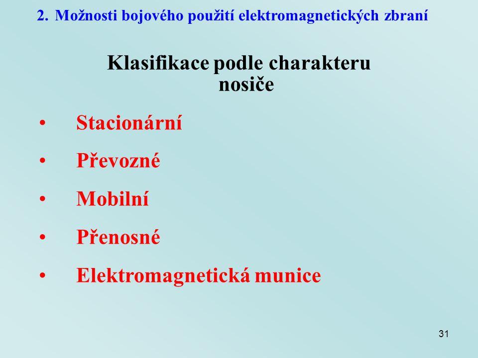 31 2.Možnosti bojového použití elektromagnetických zbraní Klasifikace podle charakteru nosiče Stacionární Převozné Mobilní Přenosné Elektromagnetická