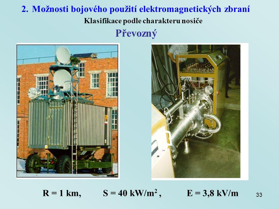 33 2.Možnosti bojového použití elektromagnetických zbraní Klasifikace podle charakteru nosiče Převozný R = 1 km, S = 40 kW/m 2, E = 3,8 kV/m