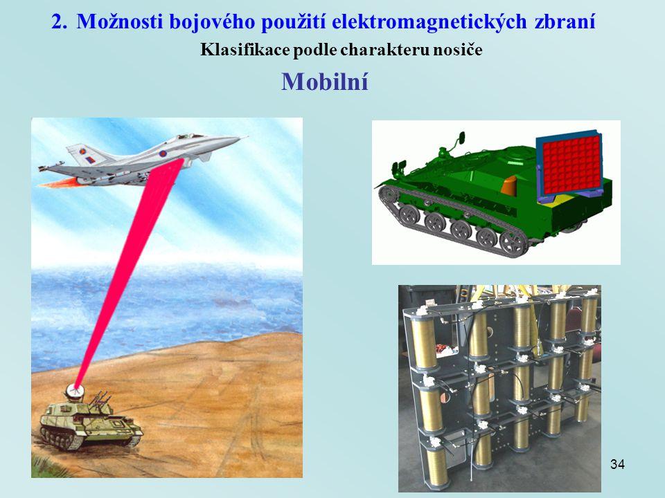 34 2.Možnosti bojového použití elektromagnetických zbraní Klasifikace podle charakteru nosiče Mobilní