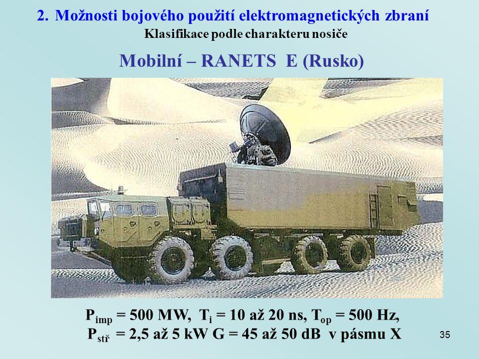35 2.Možnosti bojového použití elektromagnetických zbraní Klasifikace podle charakteru nosiče Mobilní – RANETS E (Rusko) P imp = 500 MW, T i = 10 až 2