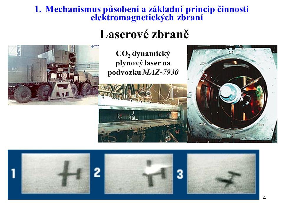 5 Laserové zbraně 1.Mechanismus působení a základní princip činnosti elektromagnetických zbraní YAL-1A ABL US Army Tactical High Energy Laser (THEL) MIRACL deuterium fluoride laser