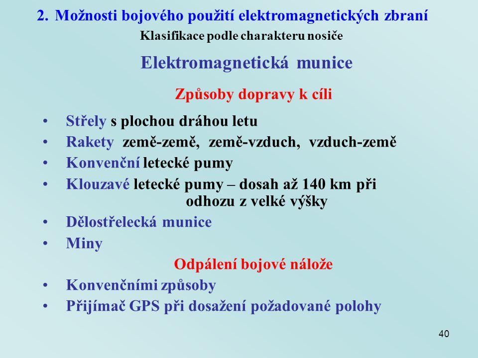 40 2.Možnosti bojového použití elektromagnetických zbraní Klasifikace podle charakteru nosiče Elektromagnetická munice Způsoby dopravy k cíli Střely s