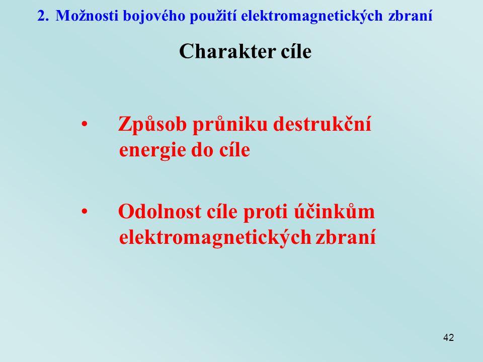 42 2.Možnosti bojového použití elektromagnetických zbraní Charakter cíle Způsob průniku destrukční energie do cíle Odolnost cíle proti účinkům elektro