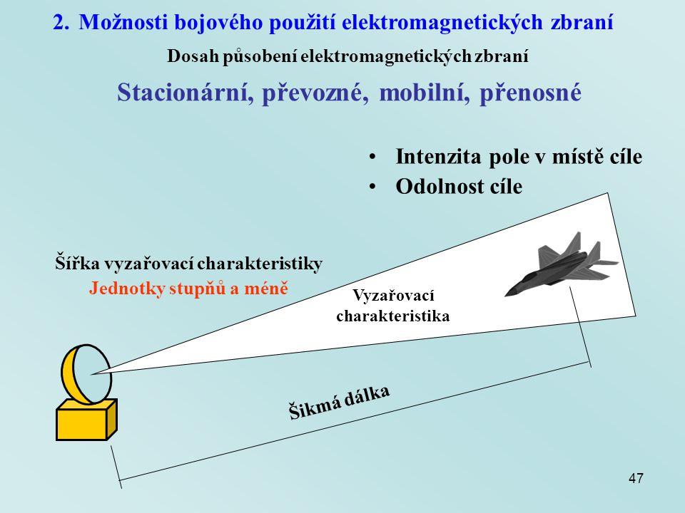 47 2.Možnosti bojového použití elektromagnetických zbraní Dosah působení elektromagnetických zbraní Stacionární, převozné, mobilní, přenosné Šikmá dál