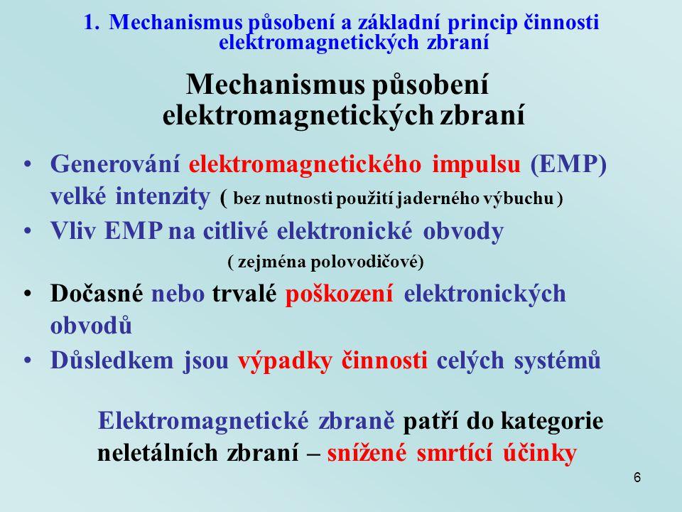 6 Mechanismus působení elektromagnetických zbraní Generování elektromagnetického impulsu (EMP) velké intenzity ( bez nutnosti použití jaderného výbuch