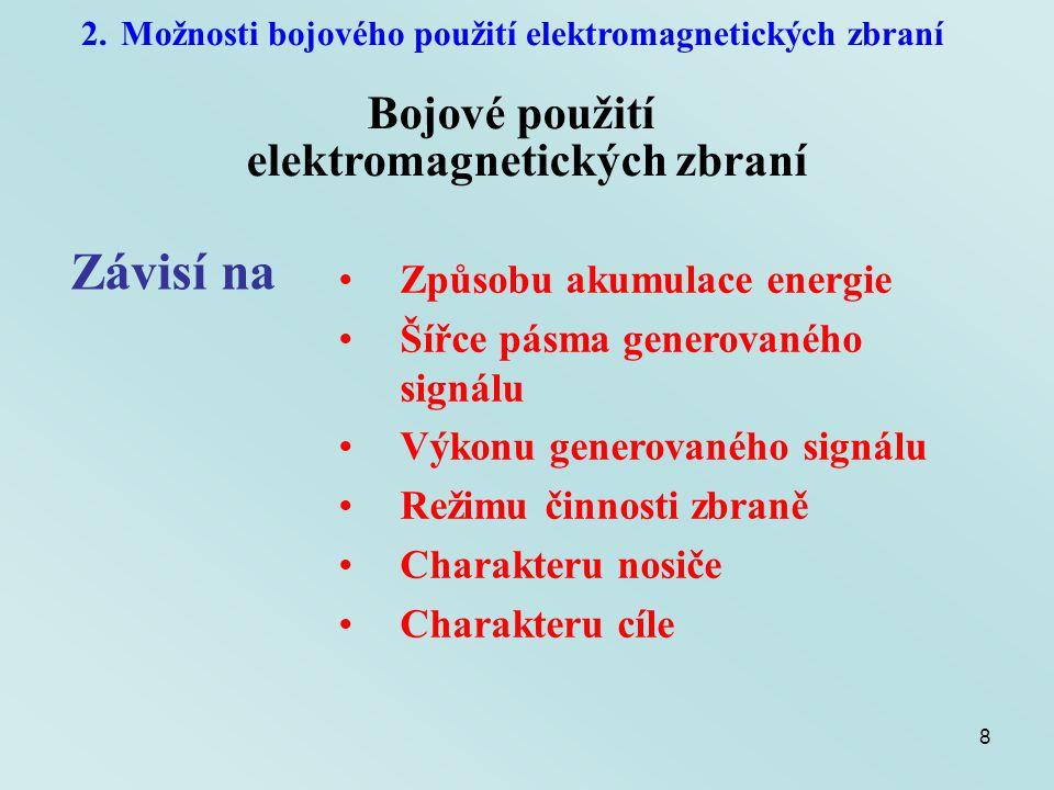 29 2.Možnosti bojového použití elektromagnetických zbraní Výkon generovaného signálu Maximální hodnota výkonu přenesená prostředím Omezující faktor – elektrická pevnost vzduchu E max < 1 MV/mS = 2,65 GW/m 2 Minimální plocha apertury antény Příklad: Přechod mezi vakuem a vzduchem Obdélníkový vlnovod (12,4 cm x 24,8 cm) – P max = 81,5 MW