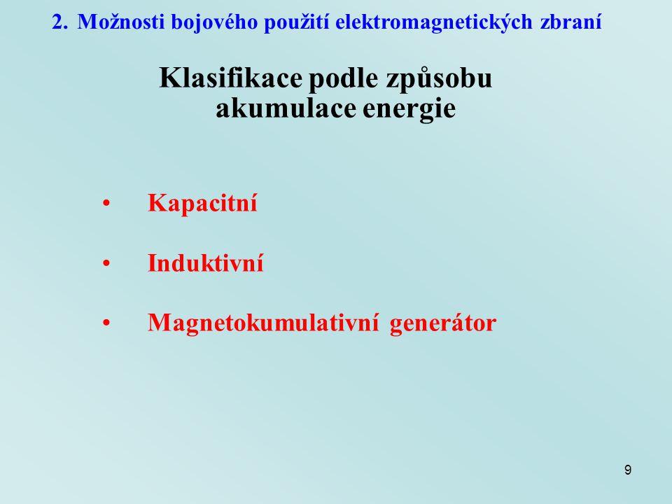10 2.Možnosti bojového použití elektromagnetických zbraní Klasifikace podle způsobu akumulace energie Kapacitní akumulace energie Marxův rázový generátor