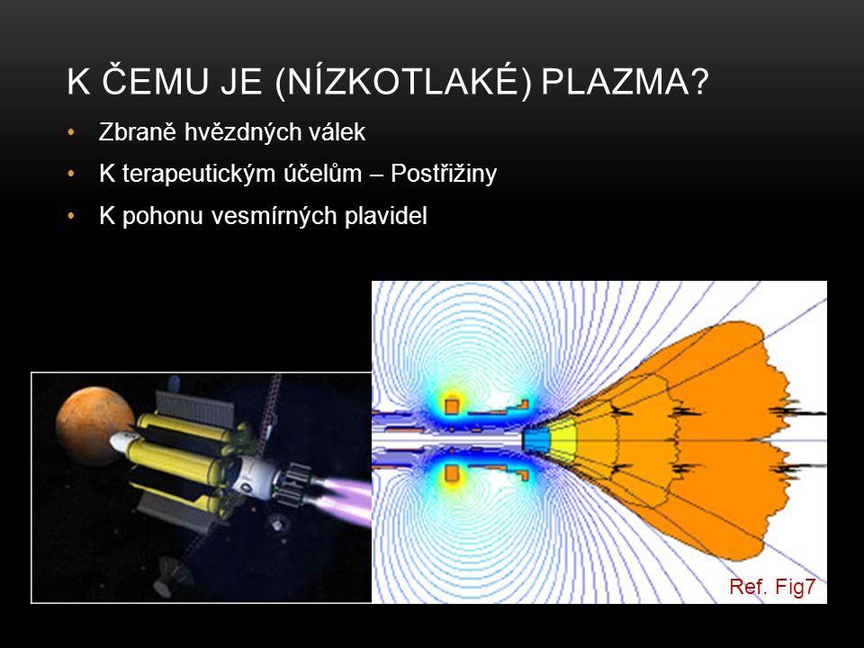 K ČEMU JE (NÍZKOTLAKÉ) PLAZMA? Zbraně hvězdných válek K terapeutickým účelům – Postřižiny K pohonu vesmírných plavidel Ref. Fig7