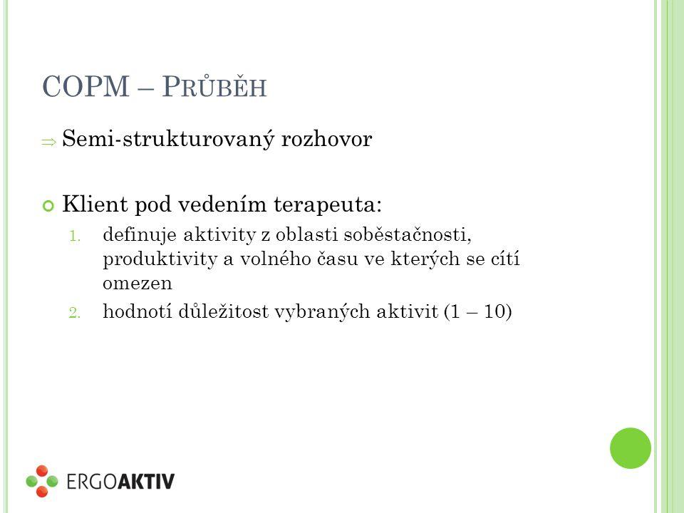 COPM – P RŮBĚH  Semi-strukturovaný rozhovor Klient pod vedením terapeuta: 1. definuje aktivity z oblasti soběstačnosti, produktivity a volného času v