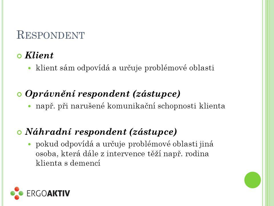 R ESPONDENT Klient klient sám odpovídá a určuje problémové oblasti Oprávnění respondent (zástupce) např. při narušené komunikační schopnosti klienta N