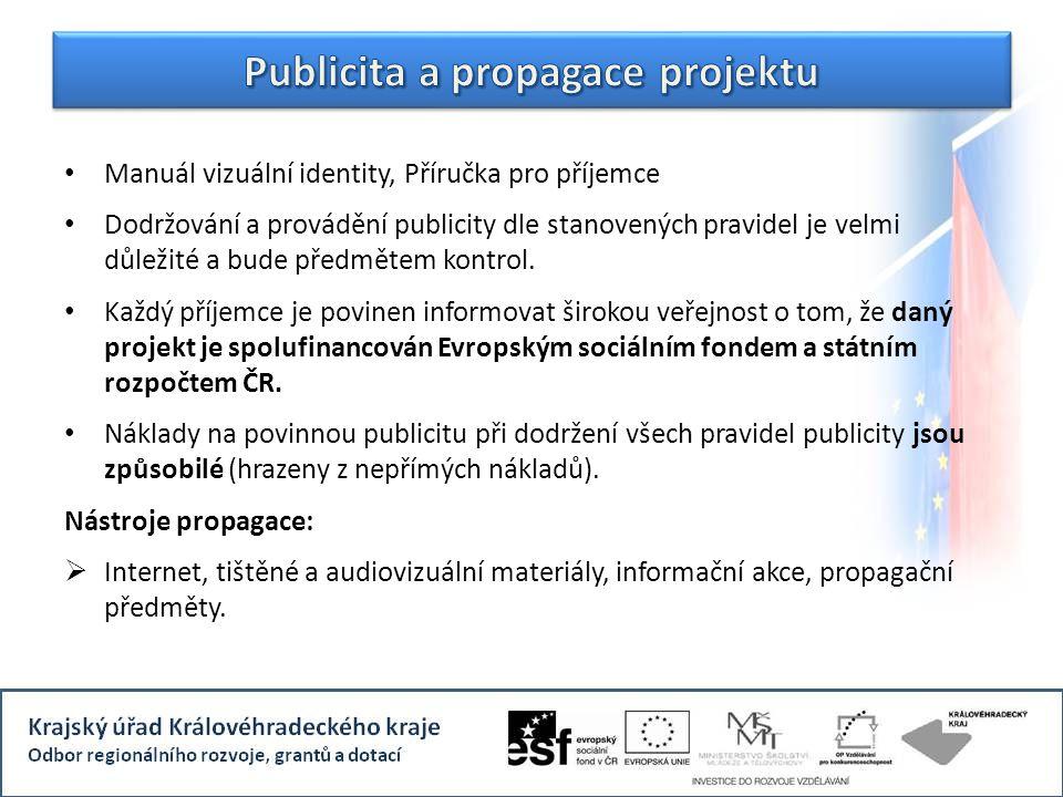 Manuál vizuální identity, Příručka pro příjemce Dodržování a provádění publicity dle stanovených pravidel je velmi důležité a bude předmětem kontrol.