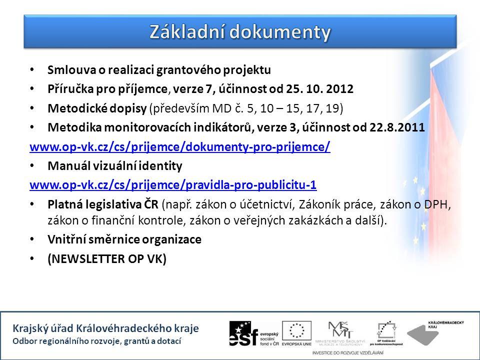 Smlouva o realizaci grantového projektu Příručka pro příjemce, verze 7, účinnost od 25. 10. 2012 Metodické dopisy (především MD č. 5, 10 – 15, 17, 19)
