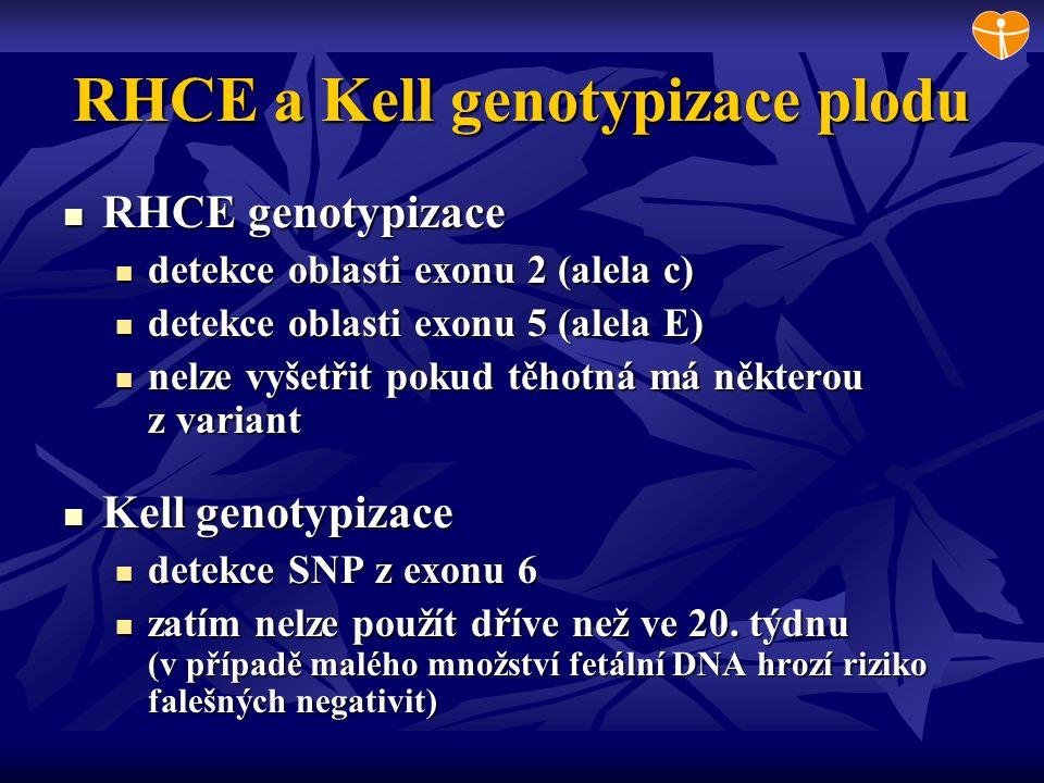 RHCE a Kell genotypizace plodu RHCE genotypizace RHCE genotypizace detekce oblasti exonu 2 (alela c) detekce oblasti exonu 2 (alela c) detekce oblasti