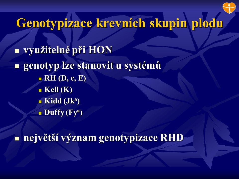 RHCE a Kell genotypizace plodu RHCE genotypizace RHCE genotypizace detekce oblasti exonu 2 (alela c) detekce oblasti exonu 2 (alela c) detekce oblasti exonu 5 (alela E) detekce oblasti exonu 5 (alela E) nelze vyšetřit pokud těhotná má některou z variant nelze vyšetřit pokud těhotná má některou z variant Kell genotypizace Kell genotypizace detekce SNP z exonu 6 detekce SNP z exonu 6 zatím nelze použít dříve než ve 20.