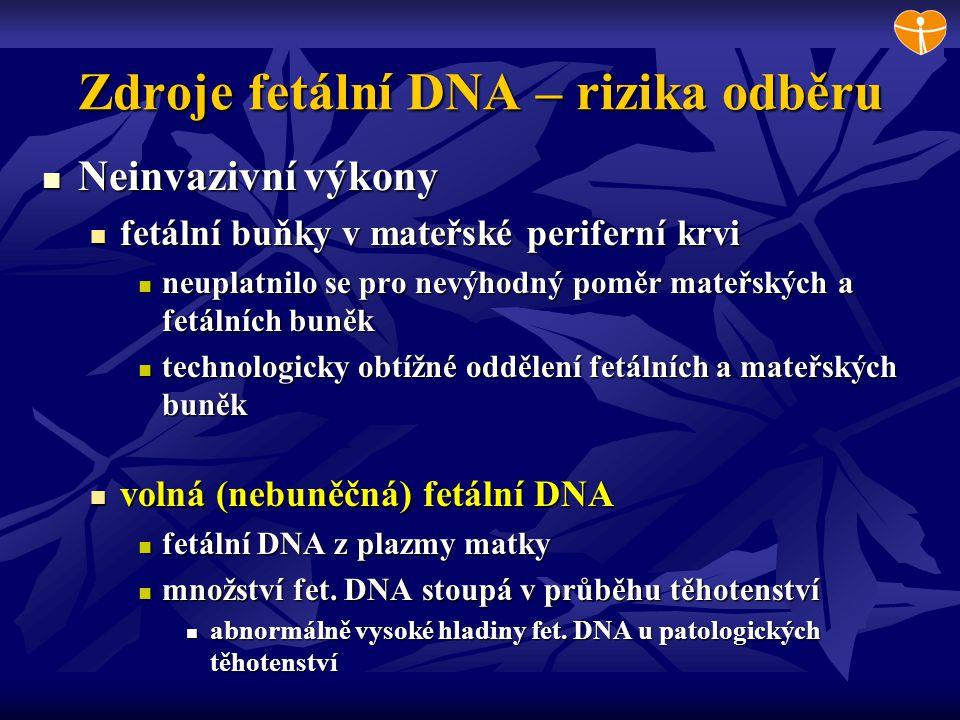 Zdroje fetální DNA – rizika odběru Neinvazivní výkony Neinvazivní výkony fetální buňky v mateřské periferní krvi fetální buňky v mateřské periferní kr