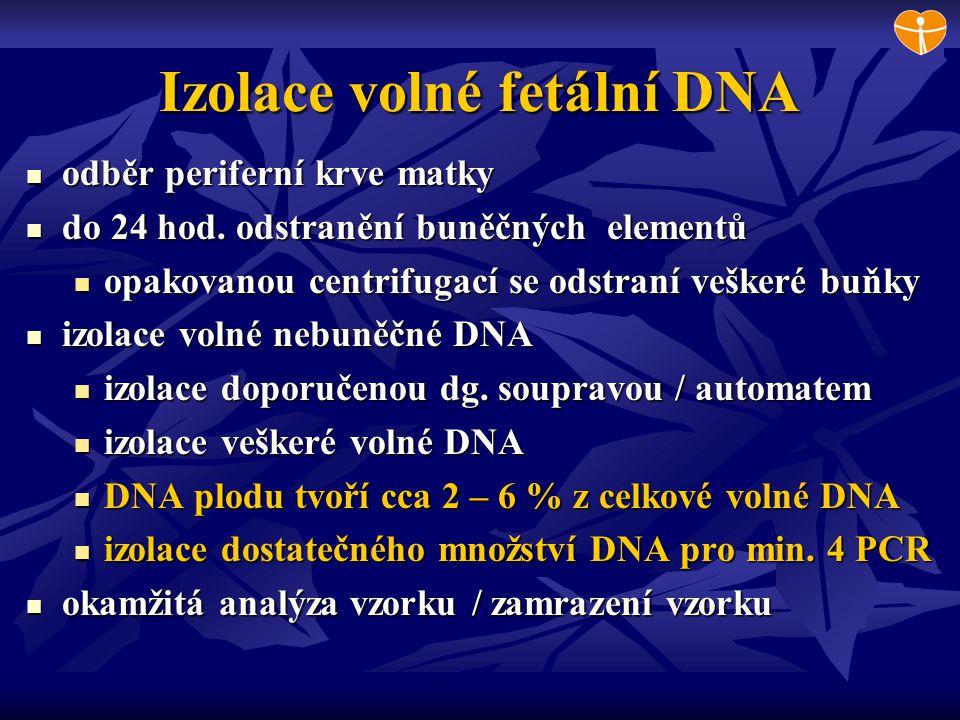 Izolace volné fetální DNA odběr periferní krve matky odběr periferní krve matky do 24 hod. odstranění buněčných elementů do 24 hod. odstranění buněčný