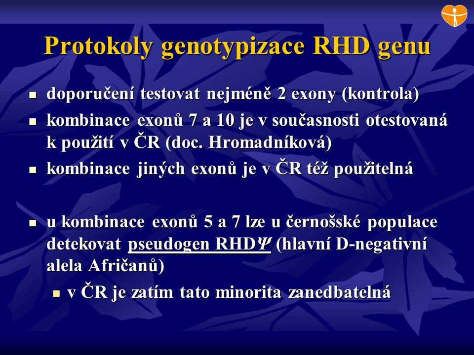 Protokoly genotypizace RHD genu doporučení testovat nejméně 2 exony (kontrola) doporučení testovat nejméně 2 exony (kontrola) kombinace exonů 7 a 10 j
