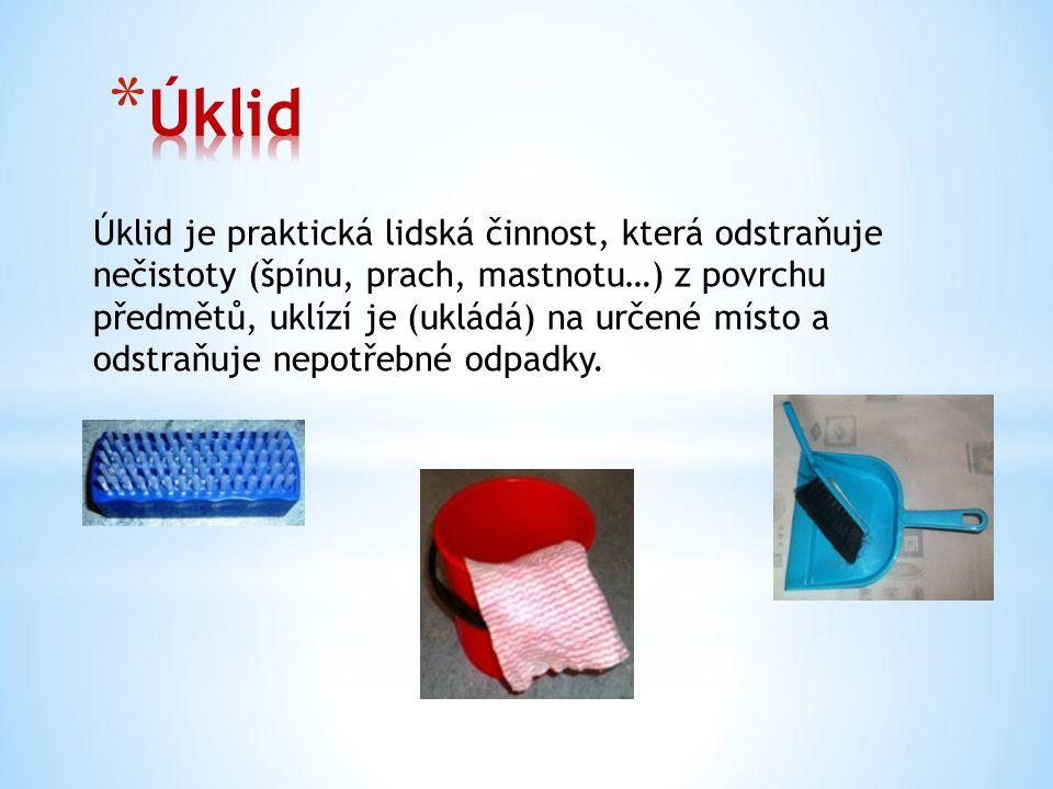 Úklid je praktická lidská činnost, která odstraňuje nečistoty (špínu, prach, mastnotu…) z povrchu předmětů, uklízí je (ukládá) na určené místo a odstr