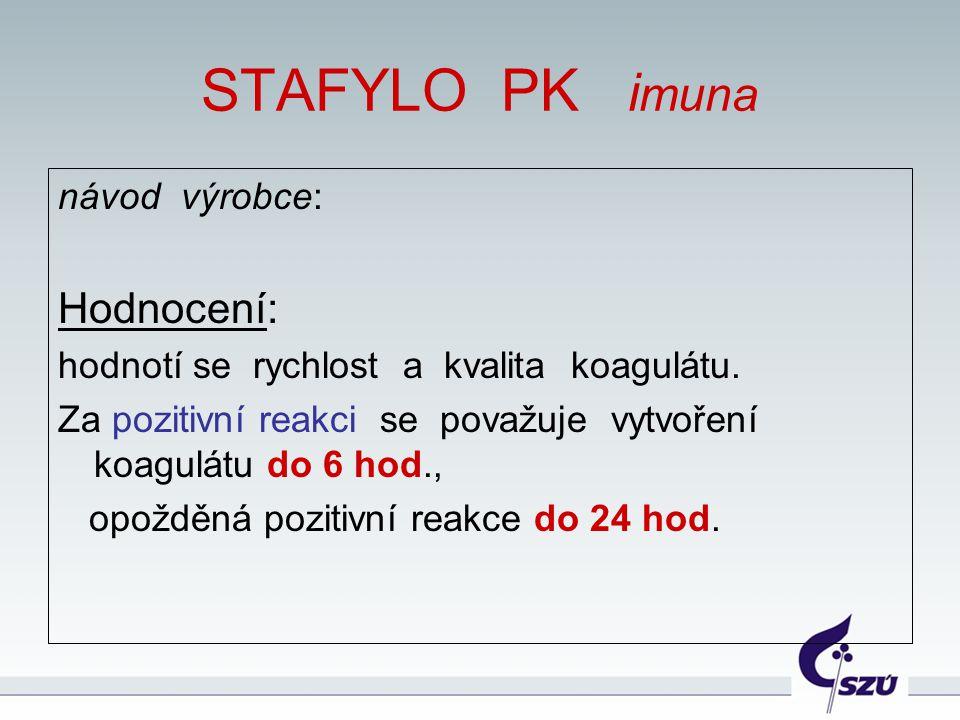 STAFYLO PK i muna návod výrobce: Hodnocení: hodnotí se rychlost a kvalita koagulátu. Za pozitivní reakci se považuje vytvoření koagulátu do 6 hod., op