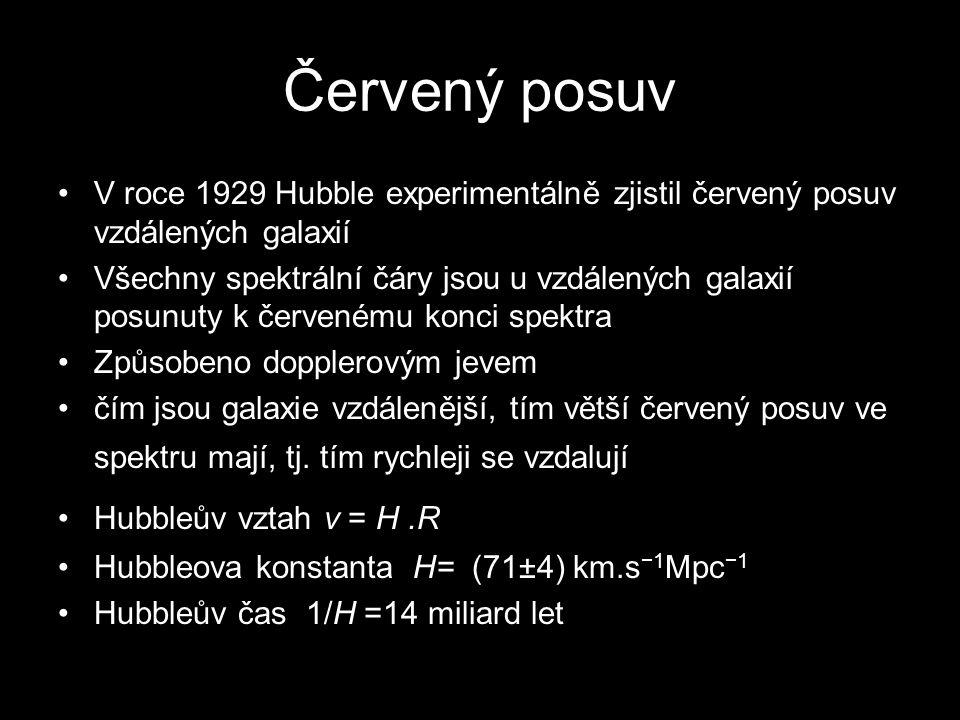 Červený posuv V roce 1929 Hubble experimentálně zjistil červený posuv vzdálených galaxií Všechny spektrální čáry jsou u vzdálených galaxií posunuty k