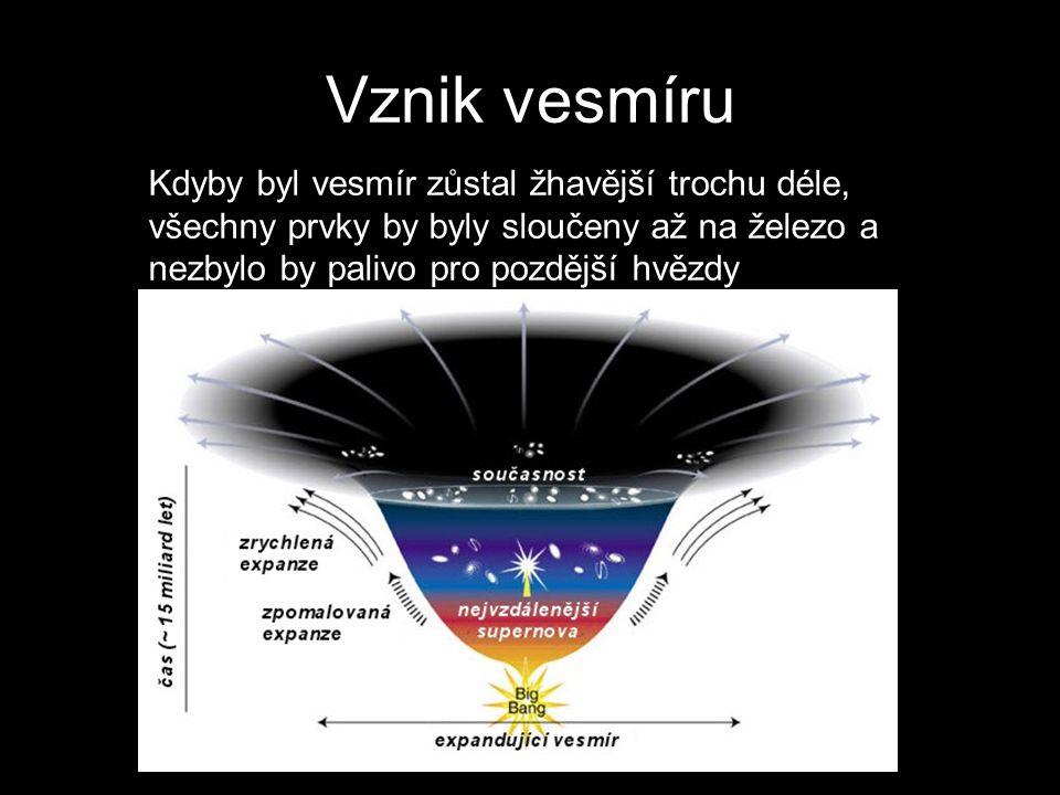 Vznik vesmíru Kdyby byl vesmír zůstal žhavější trochu déle, všechny prvky by byly sloučeny až na železo a nezbylo by palivo pro pozdější hvězdy