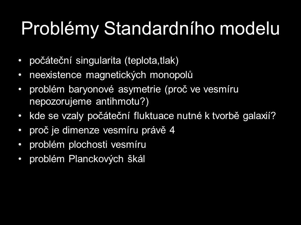 Problémy Standardního modelu počáteční singularita (teplota,tlak) neexistence magnetických monopolů problém baryonové asymetrie (proč ve vesmíru nepoz