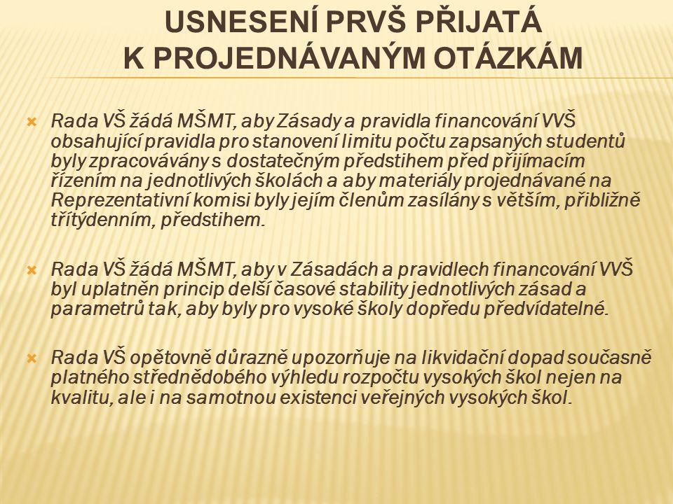  Rada VŠ žádá MŠMT, aby Zásady a pravidla financování VVŠ obsahující pravidla pro stanovení limitu počtu zapsaných studentů byly zpracovávány s dosta