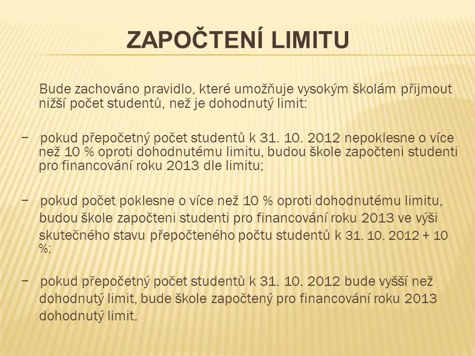Bude zachováno pravidlo, které umožňuje vysokým školám přijmout nižší počet studentů, než je dohodnutý limit: − pokud přepočetný počet studentů k 31.