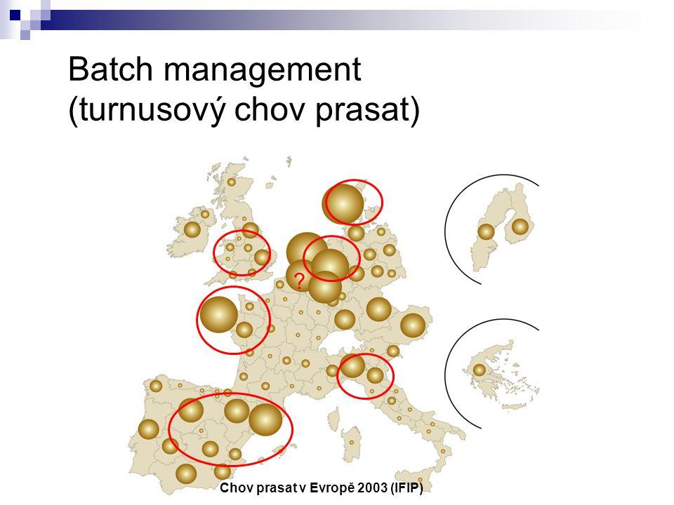 Batch management (turnusový chov prasat) Chov prasat v Evropě 2003 (IFIP) ?
