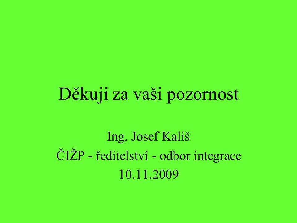 Děkuji za vaši pozornost Ing. Josef Kališ ČIŽP - ředitelství - odbor integrace 10.11.2009