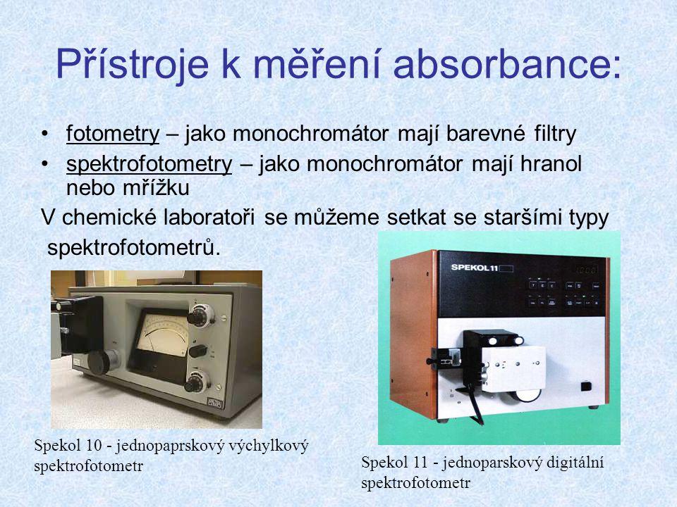 Přístroje k měření absorbance: fotometry – jako monochromátor mají barevné filtry spektrofotometry – jako monochromátor mají hranol nebo mřížku V chemické laboratoři se můžeme setkat se staršími typy spektrofotometrů.