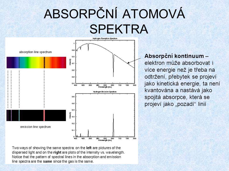 """ABSORPČNÍ ATOMOVÁ SPEKTRA Absorpční kontinuum – elektron může absorbovat i více energie než je třeba na odtržení, přebytek se projeví jako kinetická energie, ta není kvantována a nastává jako spojitá absorpce, která se projeví jako """"pozadí linií"""