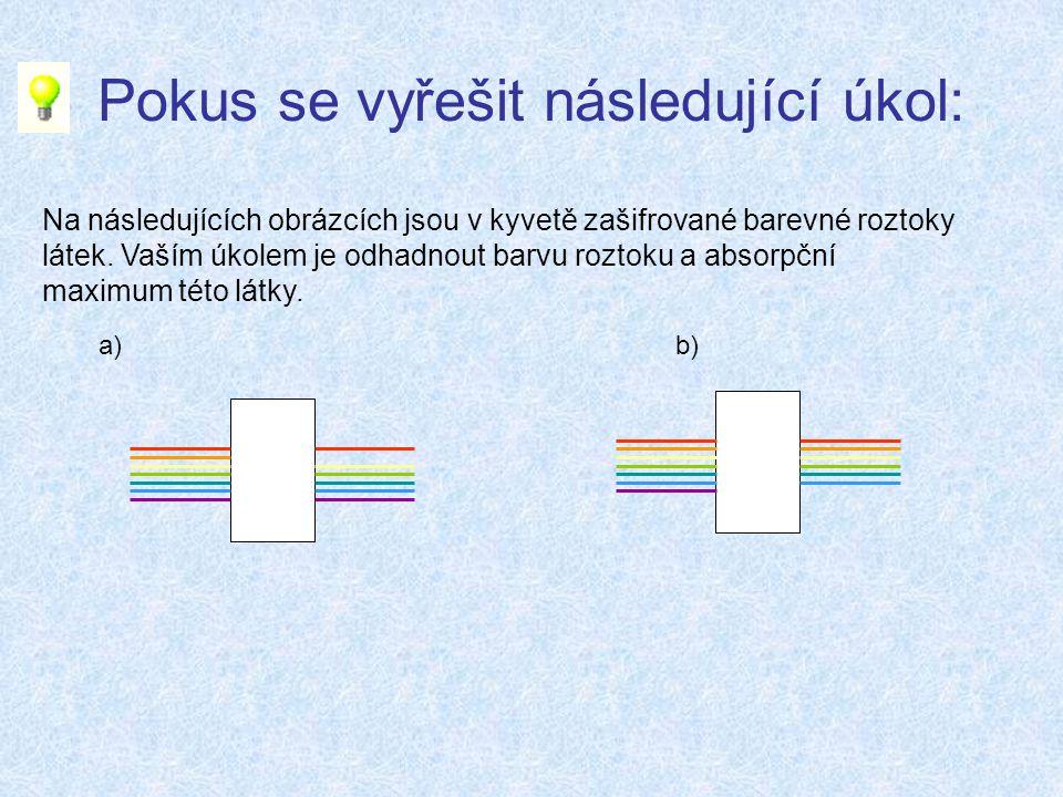 Pokus se vyřešit následující úkol: Na následujících obrázcích jsou v kyvetě zašifrované barevné roztoky látek.