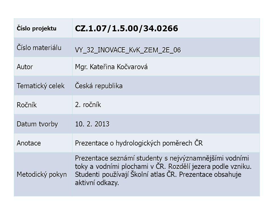 Číslo projektu CZ.1.07/1.5.00/34.0266 Číslo materiálu VY_32_INOVACE_KvK_ ZEM _2E_0 6 Autor Mgr. Kateřina Kočvarová Tematický celek Česká republika Roč
