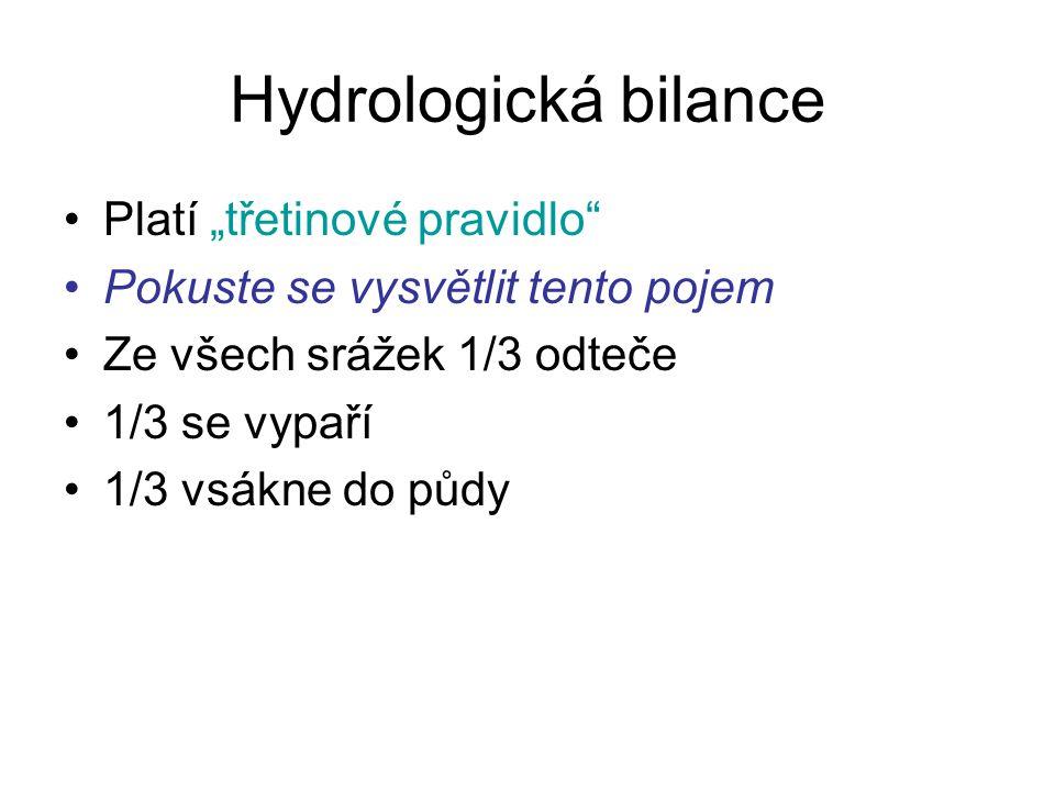 """Hydrologická bilance Platí """"třetinové pravidlo"""" Pokuste se vysvětlit tento pojem Ze všech srážek 1/3 odteče 1/3 se vypaří 1/3 vsákne do půdy"""
