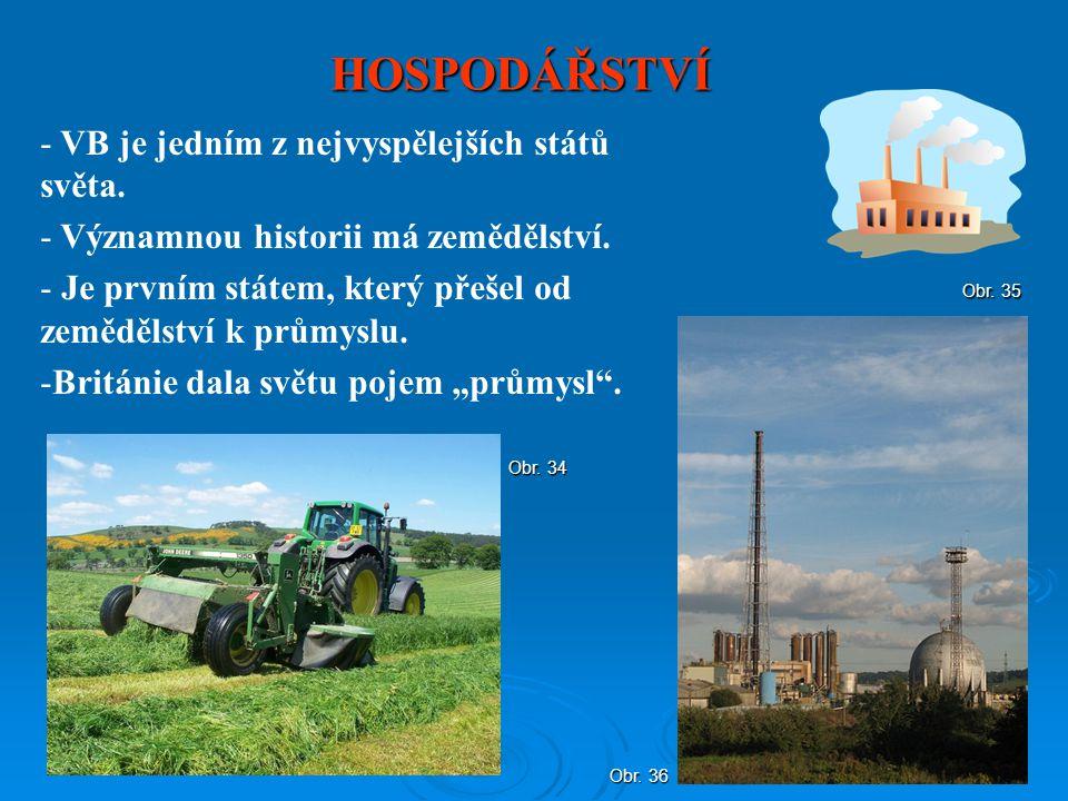 HOSPODÁŘSTVÍ - VB je jedním z nejvyspělejších států světa. - Významnou historii má zemědělství. - Je prvním státem, který přešel od zemědělství k prům