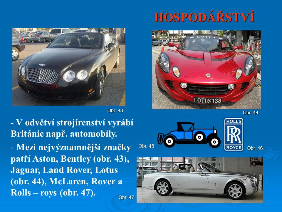 HOSPODÁŘSTVÍ - V odvětví strojírenství vyrábí Británie např. automobily. - Mezi nejvýznamnější značky patří Aston, Bentley (obr. 43), Jaguar, Land Rov
