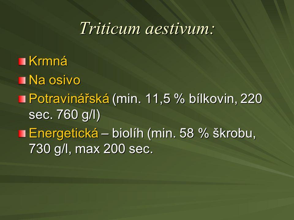 Triticum aestivum: Krmná Na osivo Potravinářská (min. 11,5 % bílkovin, 220 sec. 760 g/l) Energetická – biolíh (min. 58 % škrobu, 730 g/l, max 200 sec.