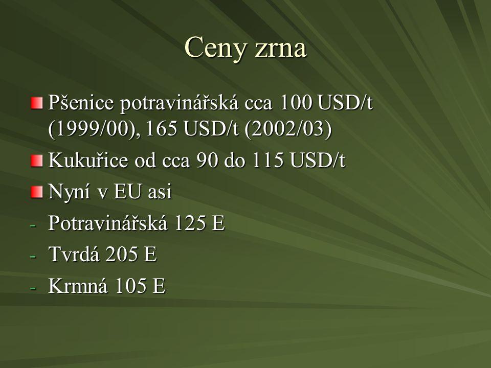 Ceny zrna Pšenice potravinářská cca 100 USD/t (1999/00), 165 USD/t (2002/03) Kukuřice od cca 90 do 115 USD/t Nyní v EU asi - Potravinářská 125 E - Tvr