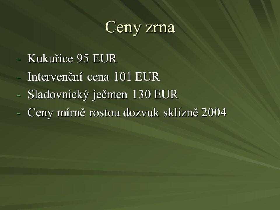 Ceny zrna - Kukuřice 95 EUR - Intervenční cena 101 EUR - Sladovnický ječmen 130 EUR - Ceny mírně rostou dozvuk sklizně 2004