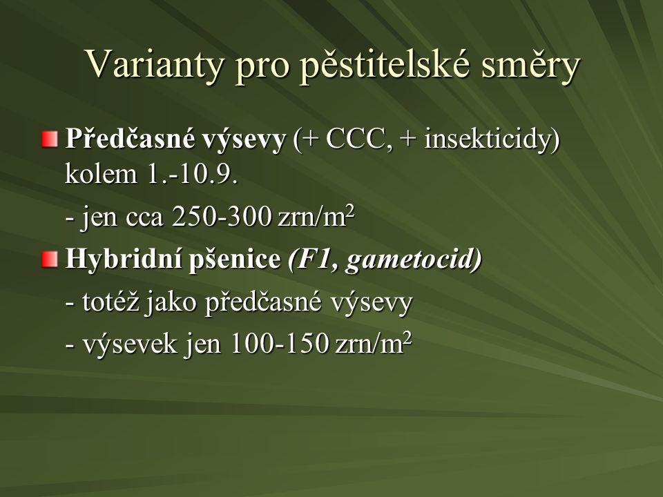 Varianty pro pěstitelské směry Předčasné výsevy (+ CCC, + insekticidy) kolem 1.-10.9. - jen cca 250-300 zrn/m 2 Hybridní pšenice (F1, gametocid) - tot