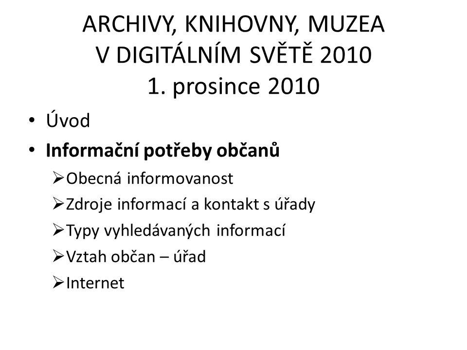 ARCHIVY, KNIHOVNY, MUZEA V DIGITÁLNÍM SVĚTĚ 2010 1.
