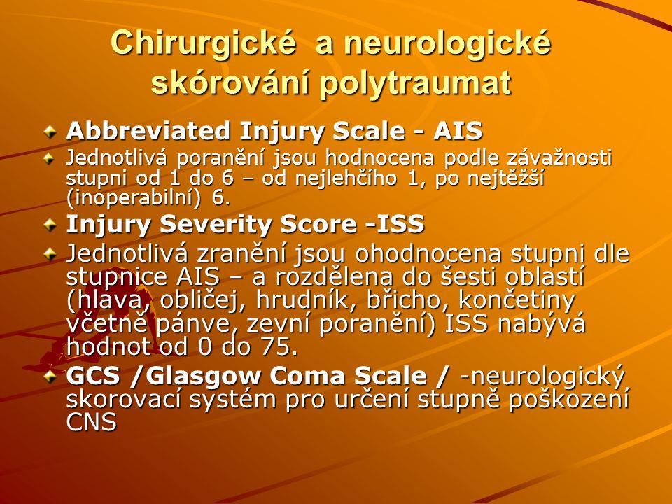 Algorytmus postupu o přednemocniční i nemocniční fáze A – Airway – zajištění průchodnosti dýchacích cest (!Pozor na trauma páteře).