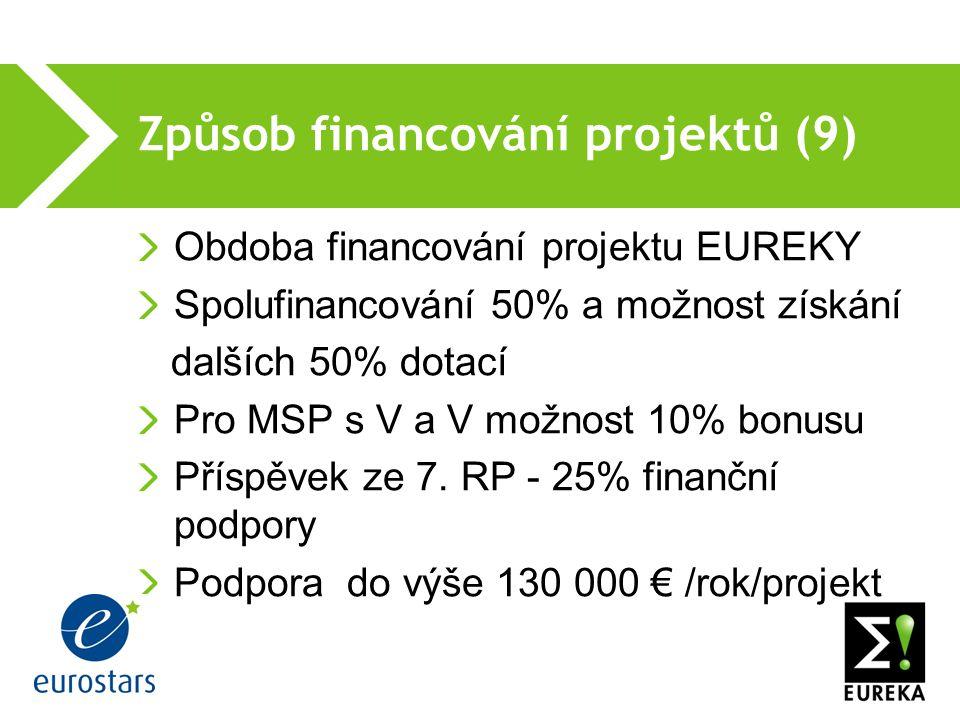 Způsob financování projektů (9) Obdoba financování projektu EUREKY Spolufinancování 50% a možnost získání dalších 50% dotací Pro MSP s V a V možnost 10% bonusu Příspěvek ze 7.